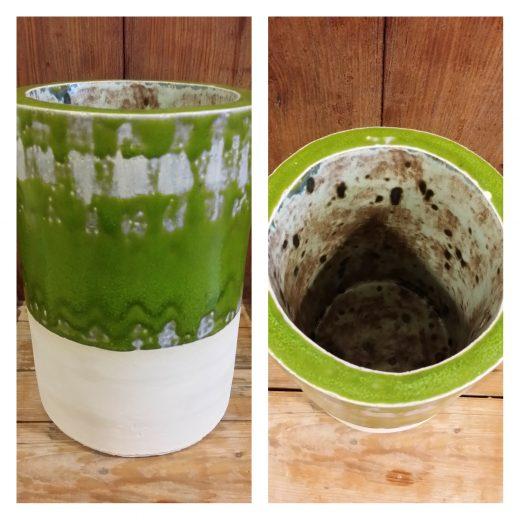Green cylindrical vase