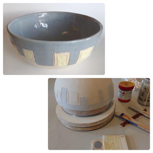 Grey yellow bowl